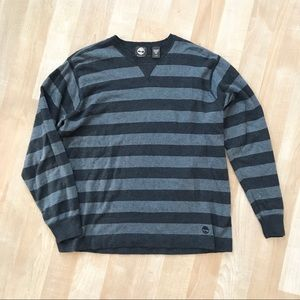 Men TIMBERLAND grey and charcoal striped sweater